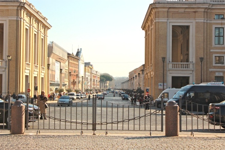 Via della conciliazione, if you're standing in the middle of the St. Peter's Square and looking in the opposite direction of St. Peter's Basilica, this is the road you would see. It is also the same road thousands of people lined when Francis became Pope.