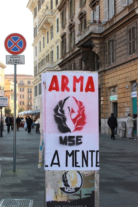 "Saw this sign on our way to the Cafe. I know ""Arma"" means 'weapon' and ""La Mente"" means 'the mind'. But I have no clue what ""MSE"" affiliates to."