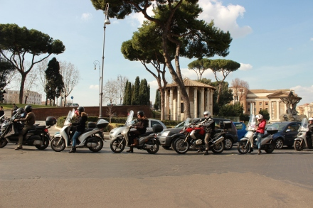 The Forum Boario, just past that long line of mopeds stopped at a traffic light.