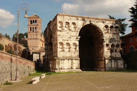 The Arch of Janus, built sometime in the 4th century CE. It is not a 'triumphant' Arch, but, according to the Encyclopedia, more likely was built as a boundary marker.