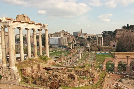 A full view of the Roman Forum.