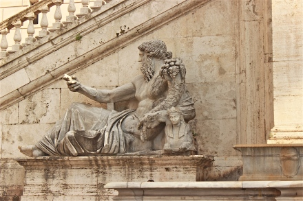 """On the left side of the staircase in the front of the Palazzo Senatorio, this statue is called """"The Nile"""", and was created in the 1st century AD. It represents the Nile river, and clearly, you can see a sphinx on the statue."""