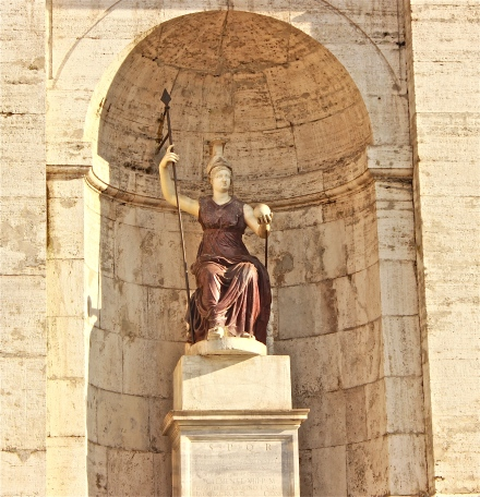 The Roman Goddess, Minerva, at the center of the Palazzo Senatorio, was considered to be Rome personified.