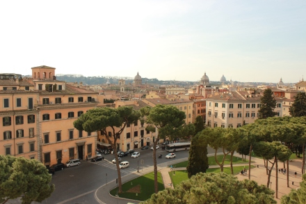 Bam! the view from the monument. In the far off right you can see the dome of St. Peter's Basilica.
