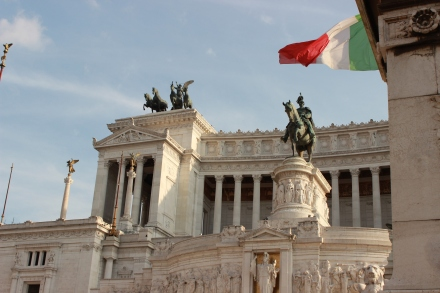 Here is a partial shot of the Victor Emmanuel II Monument. In the center you can see the the equestrian statue of Victor Emmanuel II.