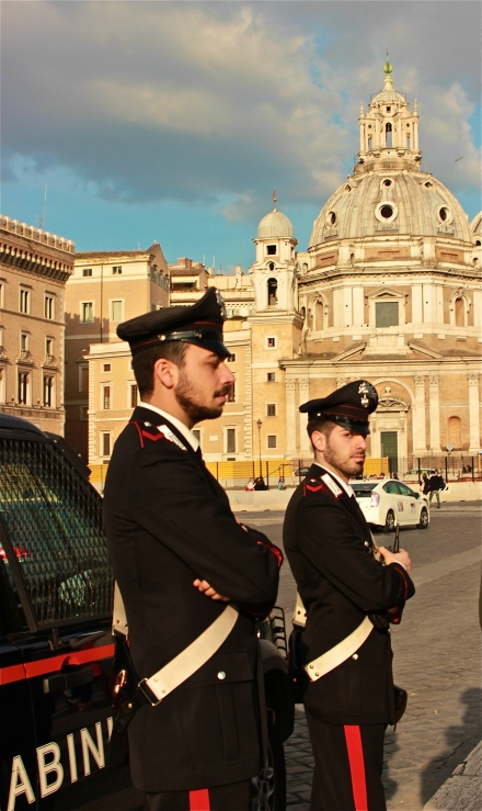 The Italian Carbinieri, a.k.a. The Italian Military Police. Fancy uniforms wouldn't you say? Supposedly..either Valentino or Armani designed the modern day uniforms.