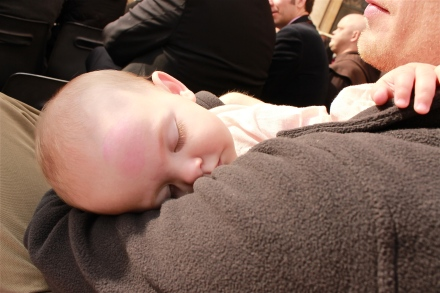 This is what Sadie thought about it, she slept through all of the speeches. Nap time waits for no one...