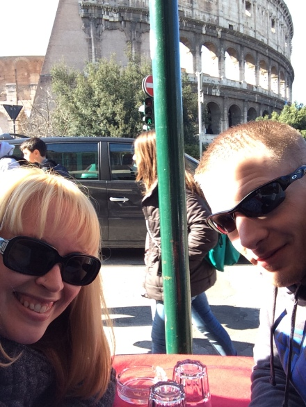 Look at our cheesy smiles, we were totally stoked to be lounging at a Cafe directly across from the Coliseum.