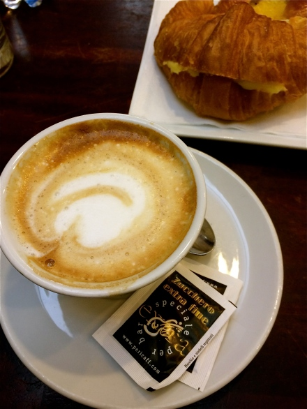 A continental breakfast, european style. Bakeries bring fresh croissants to the cafe bars every morning, and they are all delicious!That cappuccino had the best foam, in fact, every cappuccino I have ever had in Italy has the best foam.