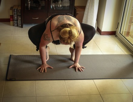 Years ago I could do a full crow pose, now I can only get a foot up if I am lucky--I will get it one day!