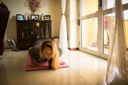 Chaturanga Dandasana, aka a Tricep push-up. I have actually grown to semi-like them.